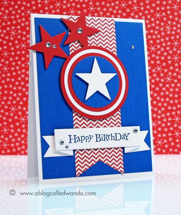 Happy birthday to my super hero a blog called wanda i copied the captain america shield by using my circle nestabilities and my stars dies from papertrey ink the banner die is from simon says stamp bookmarktalkfo Images