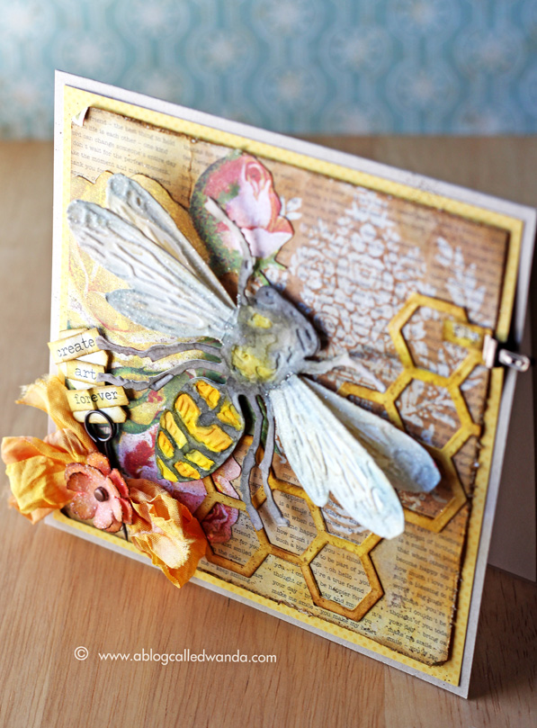 Layered Bee card by Wanda Guess - Sizzix and Tim Holtz products