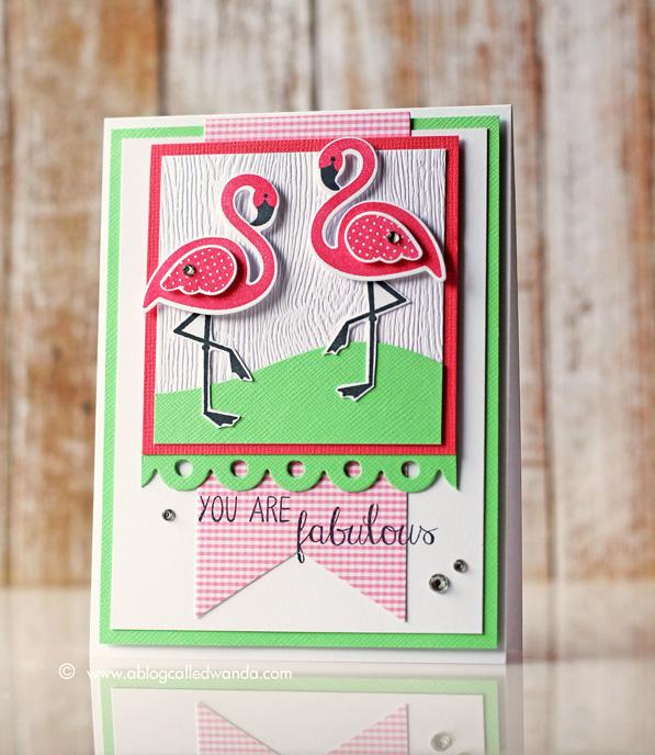 Pink Flamingo card by Wanda Guess - Fabulous!