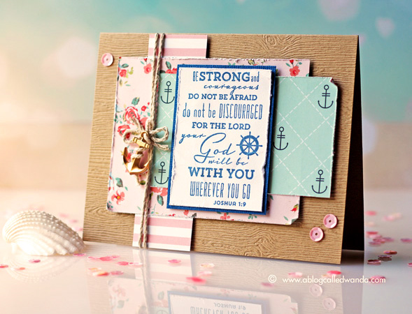 Shabby Chic Nautical card by Wanda Guess. Waltzingmouse stamps, Webster's Pages Ocean Melody papers.