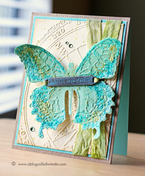 Tim Holtz Layered Butterfly card by Wanda Guess