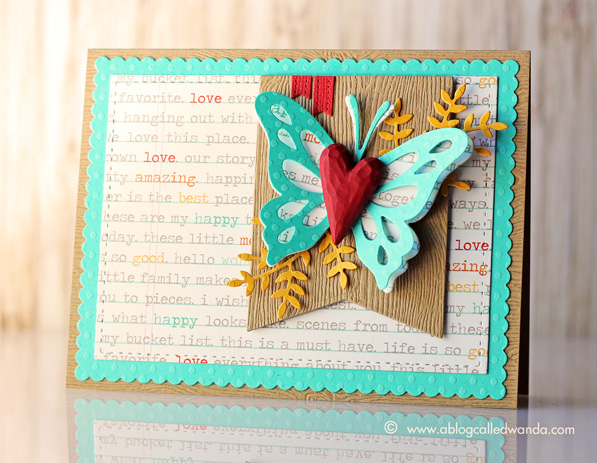 Butterfly and text card by Wanda Guess. Dies from Memory Box, PTI, MFT and Mama Elephant