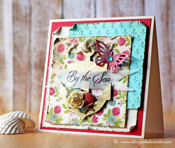 Gold Anchor/Floral card by Wanda Guess
