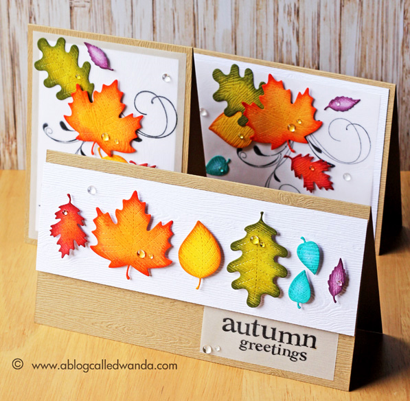 Lawn Fawn Stitched Leaves with Distress Inks. Card by Wanda Guess