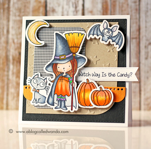 MFT Witch Way Candy stamp set. Card by Wanda Guess
