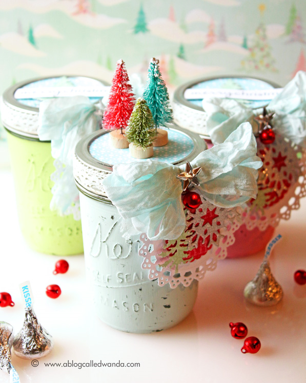 Painted mason jar idea for Christmas by Wanda Guess