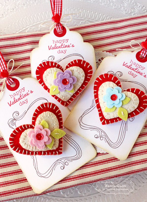 Felt Heart pins by Wanda Guess 1