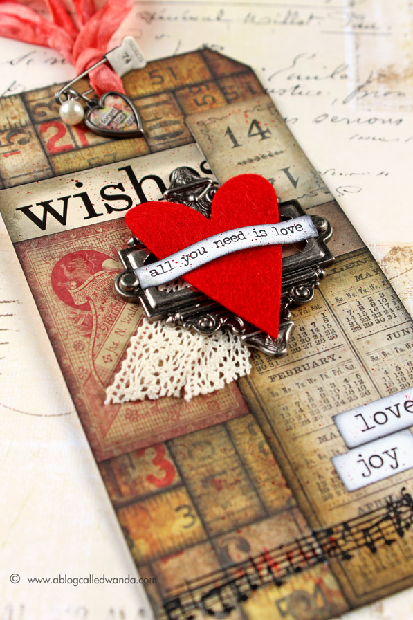 Tim Holtz 12 Tags of 2015 - February tag by Wanda Guess