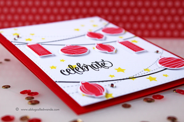 Avery Elle Bunting Stamp Set. Card by Wanda Guess