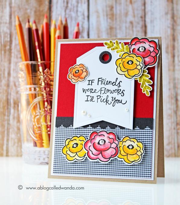 Reverse Confetti Love Blooms Card by Wanda Guess