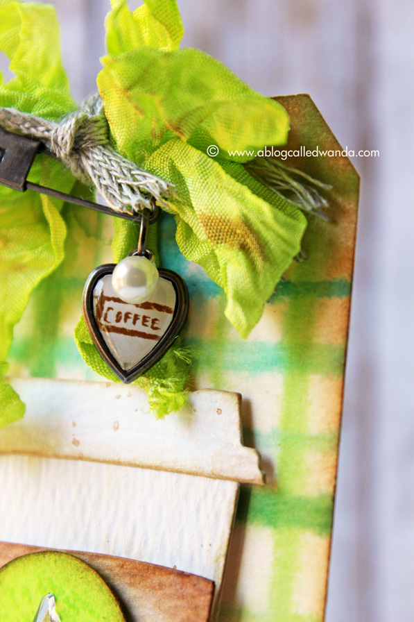 Coffee Tag by Wanda Guess - Tim Holtz heart charm