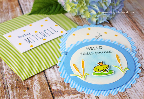 Baby Boy Card by Wanda Guess. Lawn Fawn Hello Baby Stamp Set