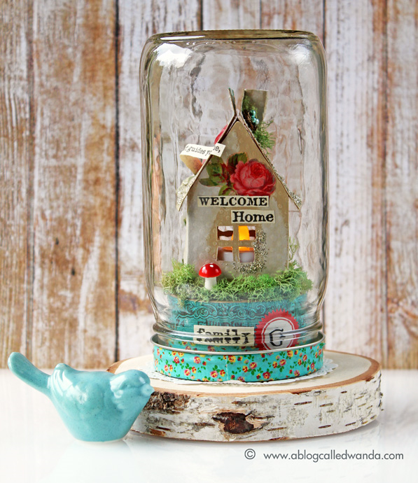 Mason jar project - luminary house - vintage - Wanda Guess