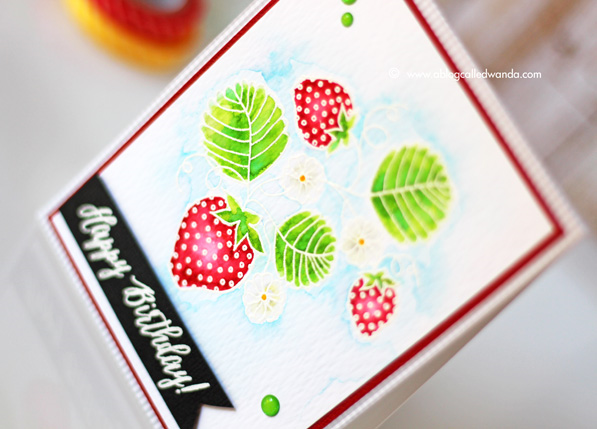 Zig Clean Color Markers. Papertrey Ink Strawberry Patch stamp set. Card by Wanda Guess. Watercolor with white embossing.