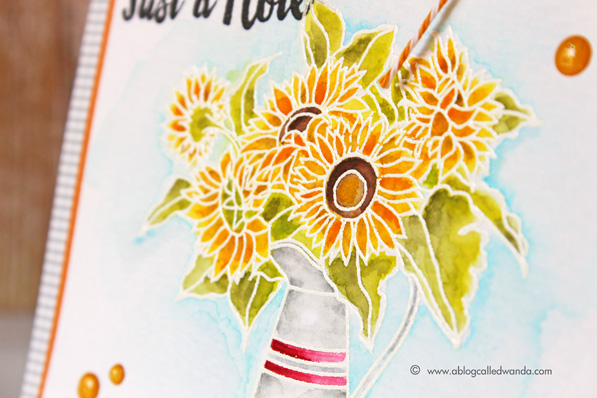 Zig Clean Color Markers. Papertrey Ink Sunflower Bouquet stamp set. Card by Wanda Guess. Watercolor with white embossing.