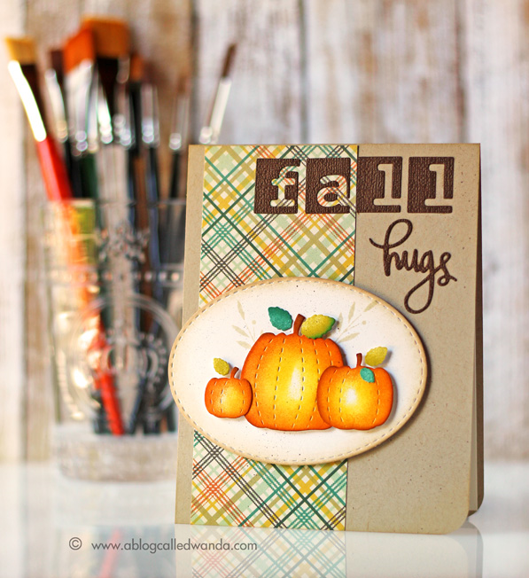 Simon Says STAMPtember 2015. Card by Wanda Guess Stitched pumpkin dies. #sssfave