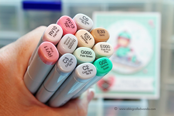 Copic Marker coloring - card by Wanda Guess. MFT stamps