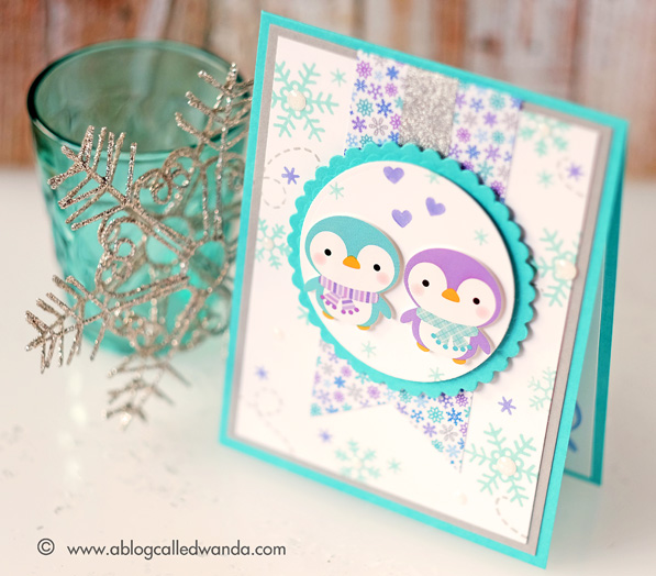 Simon Says Stamp January 2016 card kit. Penguins! Card by Wanda Guess #sssfave  Doodlebug paper, snowflakes stamp set