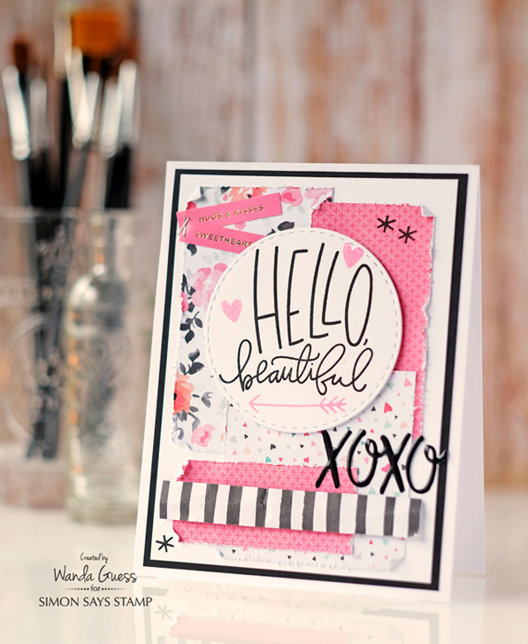 Simon Says Stamp Feb 2016 card kit. Card by Wanda Guess. Paper by Crate Paper. Exclusive SSS Stamp set.