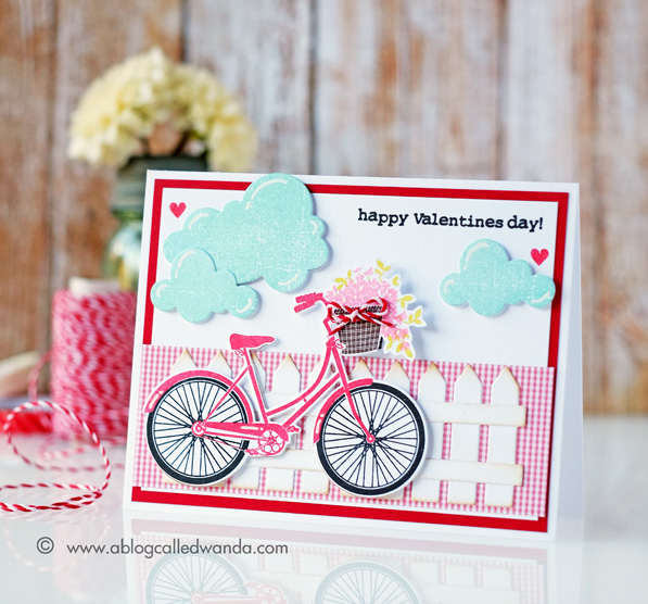 Papertrey Ink Pedal Pusher stamp set. Valentine Card. Wanda Guess