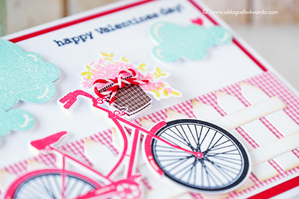 Papertrey Ink Pedal Pusher stamp set. Valentine Card. Bicycle. PTI. Wanda Guess