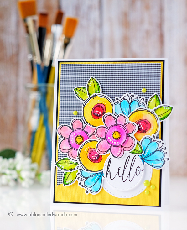 WPLUS9 Doodle Buds stamp set. Card by Wanda Guess