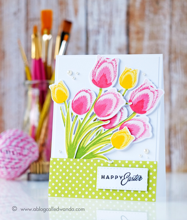 Papertrey Ink Tulip Time stamp set. Easter card by Wanda Guess