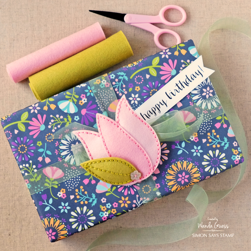 Simon Says Stamp Spring Plush Release - Tulip Bloom and Cottage Leaves. Project by Wanda Guess #sssfave
