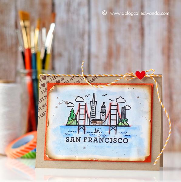 Hero Arts Summer 2016 Catalog. Blog Hop. Destination San Francisco stamp. Card by Wanda Guess. Hero Arts stamps