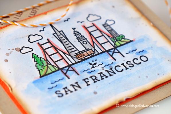 Hero Arts San Francisco Stamp. Watercolors by Kuretake. Card by Wanda Guess