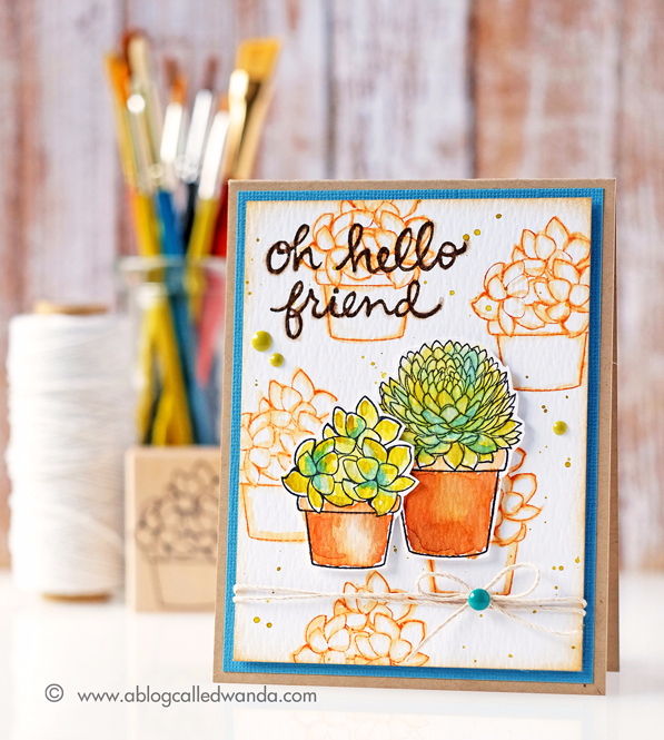 Hero Arts succulents stamps. Distress Ink watercoloring. Card by Wanda Guess