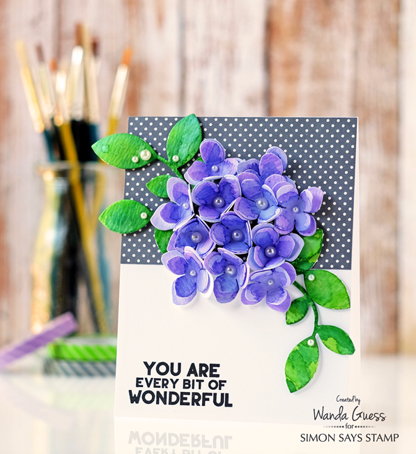 Simon Says Stamp Among The Stars release. Hydrangea Petals Die. Card by Wanda Guess using Distress Inks and watercolor paper.