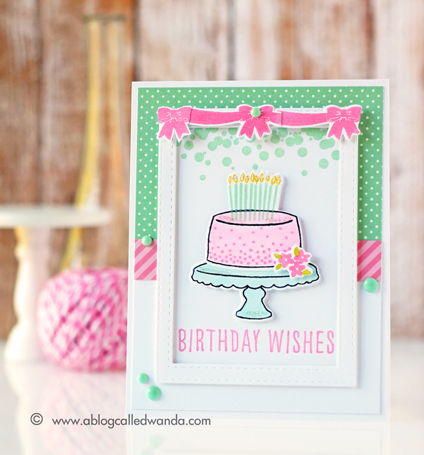 Reverse Confetti Candles n Confetti stamp set. Card by Wanda Guess