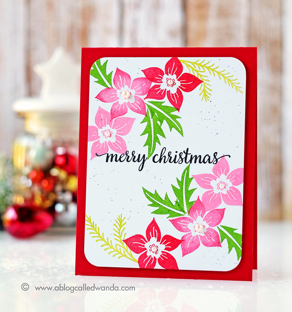 HERO ARTS CHRISTMAS TREE TRIMMINGS STAMP SET. CARD BY WANDA GUESS