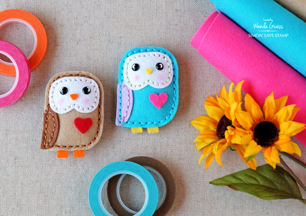 Simon Says Stamp Plush Little Owl dies. Project by Wanda Guess