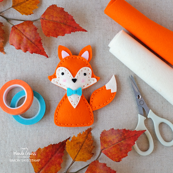 Felt Fox with Simon Says Stamp plush dies. Project by Wanda Guess