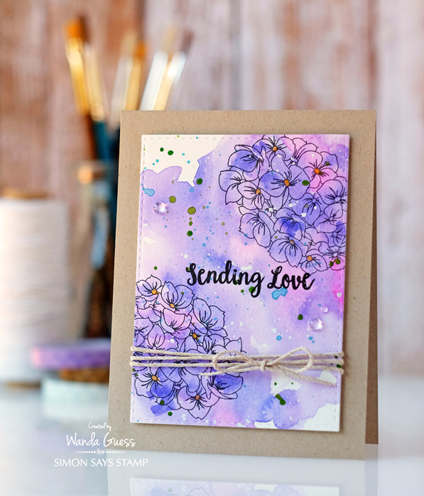 Simon Says Stamp Hydrangea Blooms stamp set. Stamptember 2016. Card by Wanda Guess. Prima watercolors