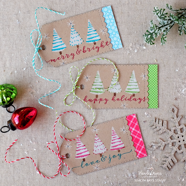 Stamptember stamp set with WPlus9 Holiday Trimmings. Project by Wanda Guess