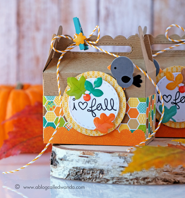 Lawn Fawn Scallop Treat Box Die. Doodlebug Flea Market paper. Project by Wanda Guess. Fall Treat Boxes!