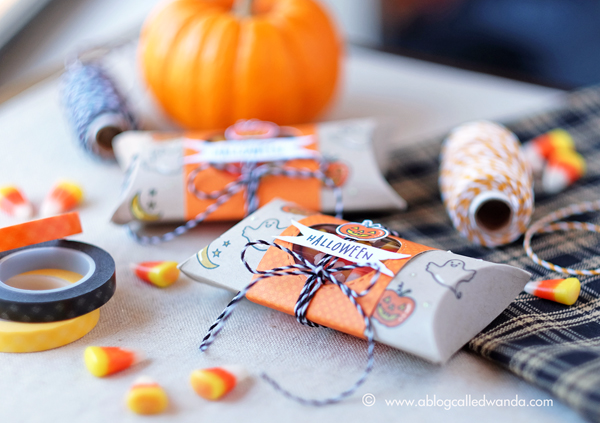Hero Arts Planner Stamps. Blog Hop. Halloween Treats with Pillow Box Punch Board. Project by Wanda Guess