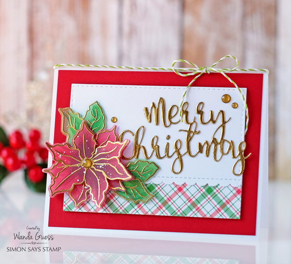Simon Says Stamp Believe in the Season Holiday Release 2016. Poinsettia card by Wanda Guess