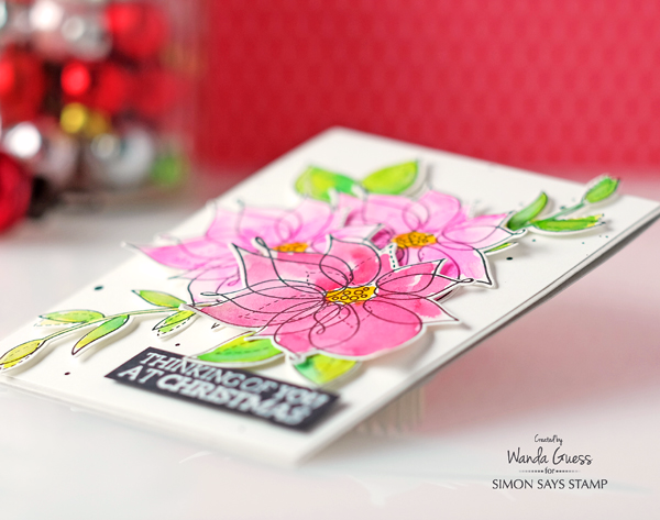 Simon Says Stamp Winter Flowers stamp set. Watercolor card by Wanda Guess. Prima Confections watercolors