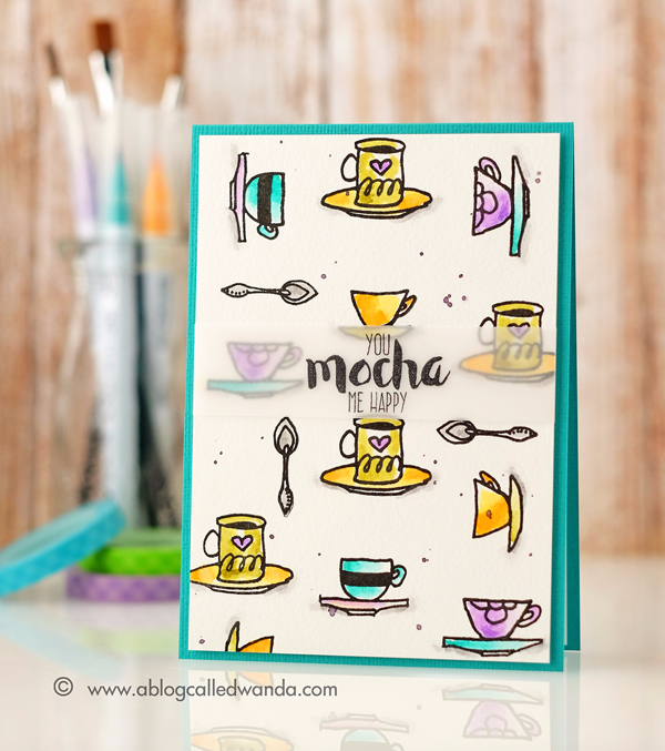 Altenew Coffee Love stamp set. Card by Wanda Guess. Zig Clean Color Markers watercolor technique