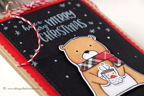 Beary Merry stamp set. Neat & Tangled. Copic Coloring and Chalboard look. Card by Wanda Guess