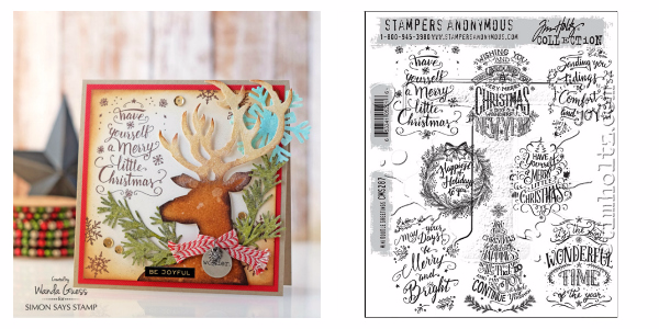 Tim Holtz Mini Doodle Greetings stamps. Card by Wanda Guess