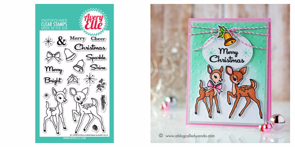 Avery Elle Kitsch Christmas stamps and dies. Project by Wanda Guess