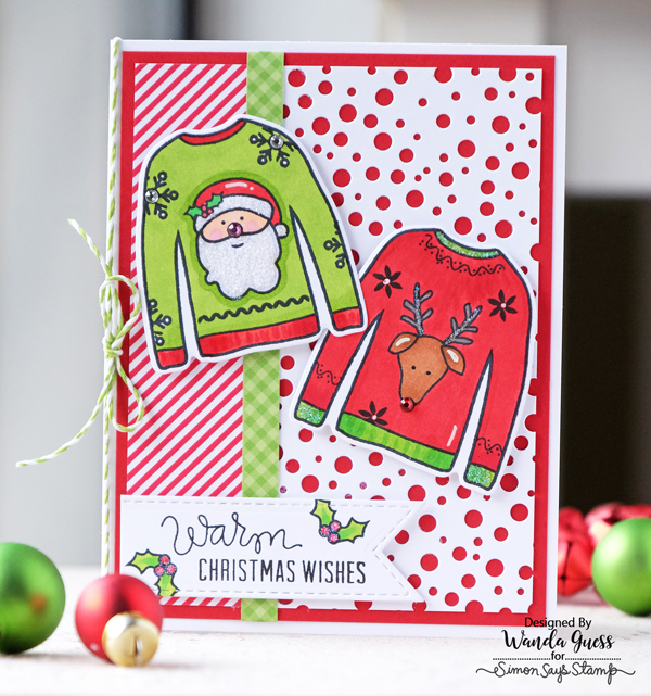 1 Simon Says Stamp Ugly Sweater stamps and dies. Project by Wanda Guess