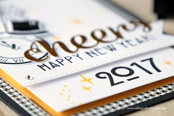 Hero Arts My Monthly Hero Kit. December 2016 Blog Hop. Project by Wanda Guess. New Year card for 2017. Cheers!