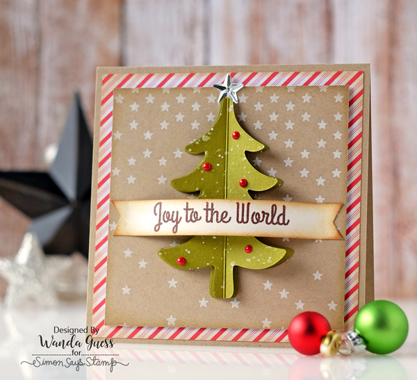 SIMON SAYS STAMP FOLD OVER TREE DIE. DIECEMBER 2016. CARD BY WANDA GUESS