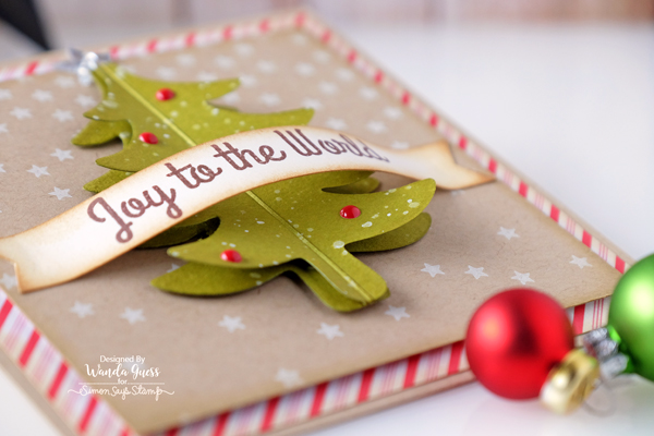 SIMON SAYS STAMP FOLD OVER TREE DIE. CHRISTMAS CARD BY WANDA GUESS. JOY TO THE WORLD. FALLING STARS BACKGROUND STAMP